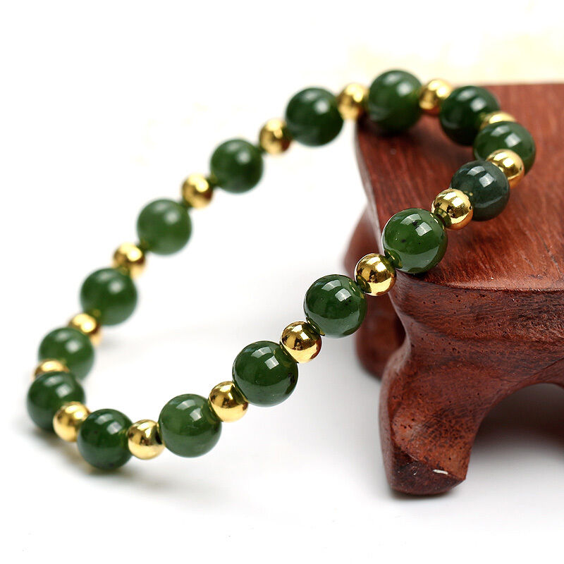 Authentic Grade A Jade (jadeite) 10mm Green Bead 4mm 14K gold Bead Bracelet