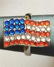 Silver American Flag Ring Crystal Plated Patriotic July 4th Size 7 8 USA Seller