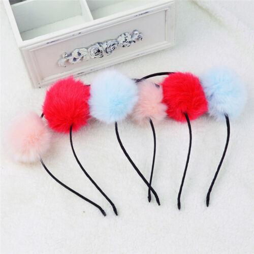 Womens Girl Warm Pom Ball Furry Ears Headband Hair band Head Accessory TB