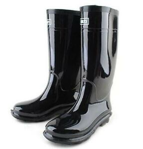 Mens black waterproof rain snow wellington rubber boots galoshes