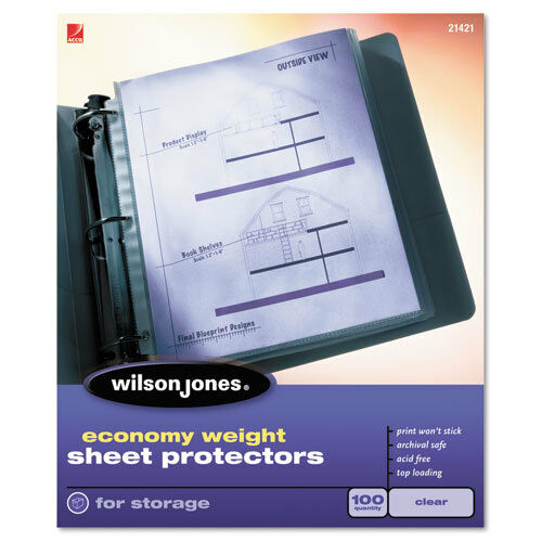 50//Box Clear BX Wilson Jones Economy Weight Sheet Protector WLJ21420