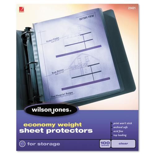 50//Box Clear BX Wilson Jones Economy Weight Sheet Protector WLJ21420