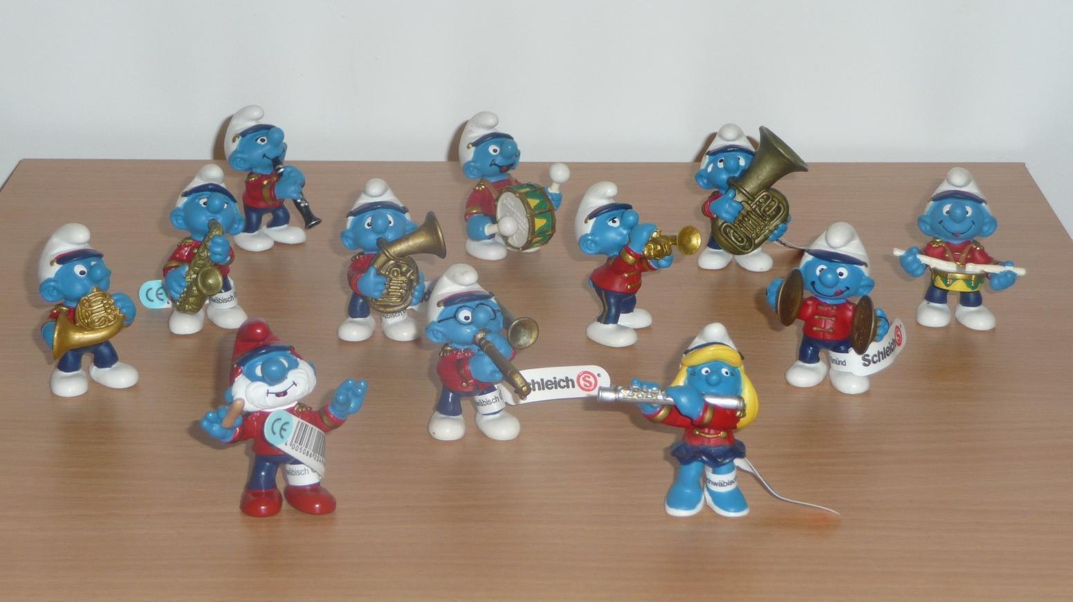 SCHTROUMPF  SET 2002 MUSICIENS  la FANFARE 12 figurines Smurf Pitufo Schlumpf