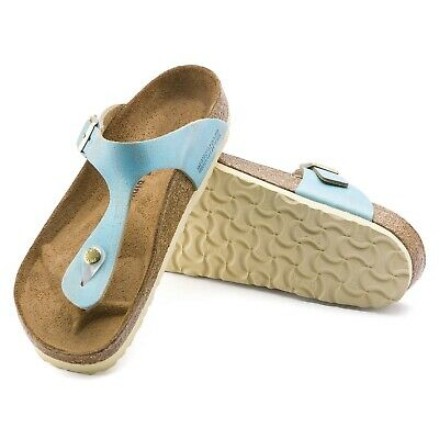 Birkenstock Gizeh Leather Toe Separators normal Washed Metallic Aqua 1012905 NEW | eBay
