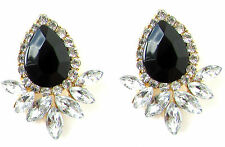 Black Silver Gold Diamante Drop Earrings Art Deco 1920s Stud Flapper Vintage 447