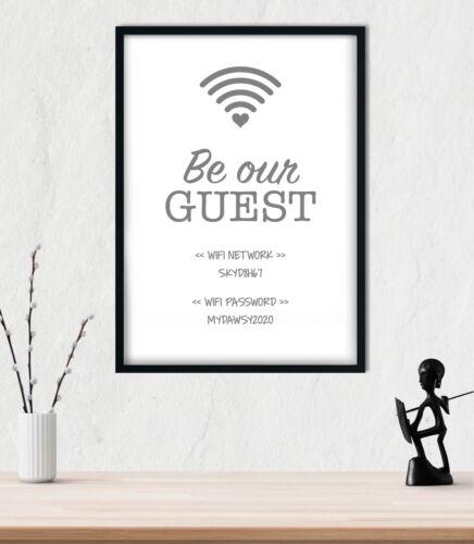 WiFi Password Personalised Wall Art Imprimé Poster Décoration Typographie-Blanc /& Gris