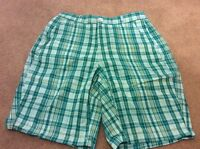 Women's S Shorts Size Small Green White Plaid Comfort Nice Cotton Summer +