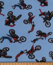 Motocross on Blue Sports Dirt Bike Fleece Fabric Print by the Yard A408.14