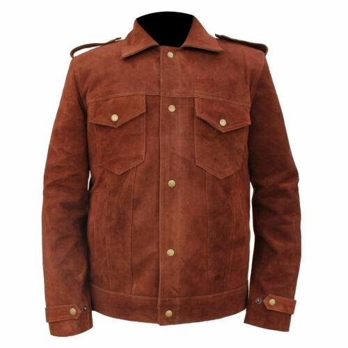 Men/'s Brown Suede Leather Jacket Rubber Soul Beatles John Lennon Vintage Biker