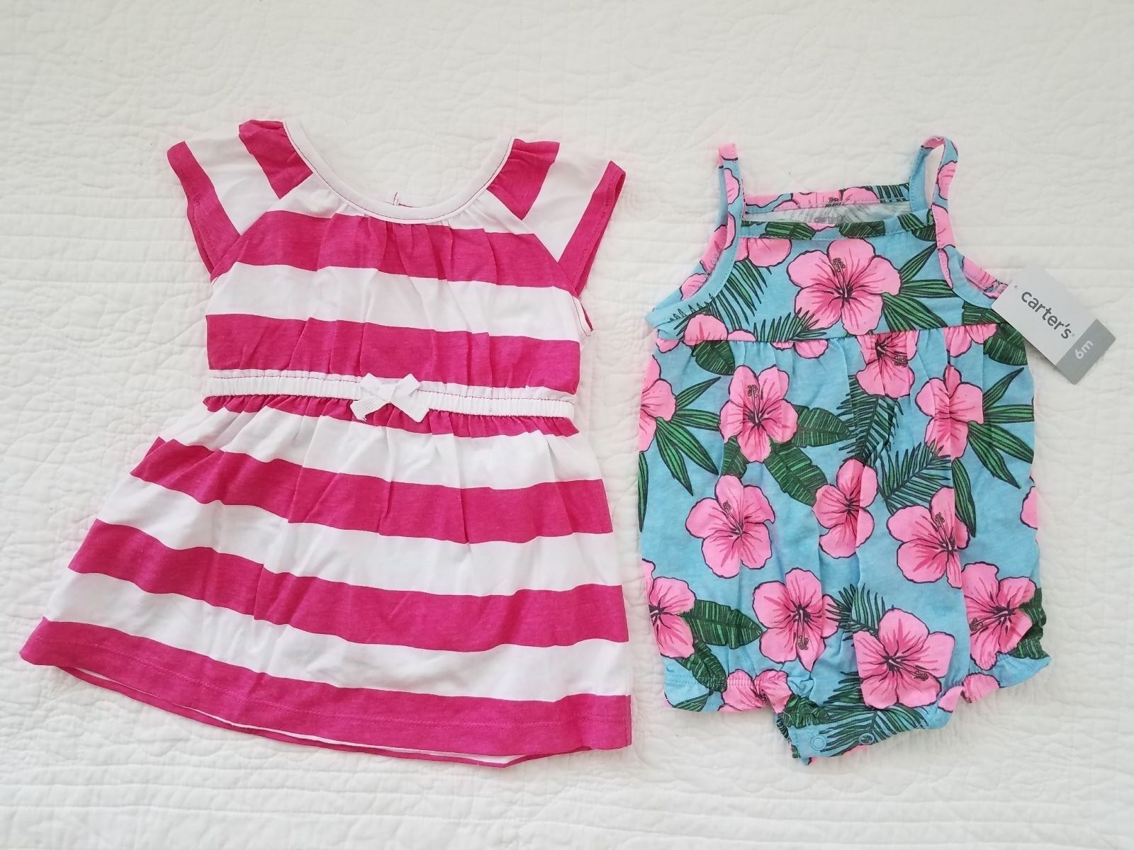 d86284f76 Carters 6 Months Pink Stripe Dress & Tropical Romper Set Baby Girl ...