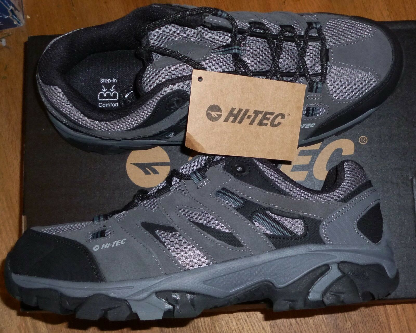 HI-TEC JASON MENS LOW HIKER SUEDE LEATHER & MAN MADE UPPER GREY SIZE 10 NEW BOX