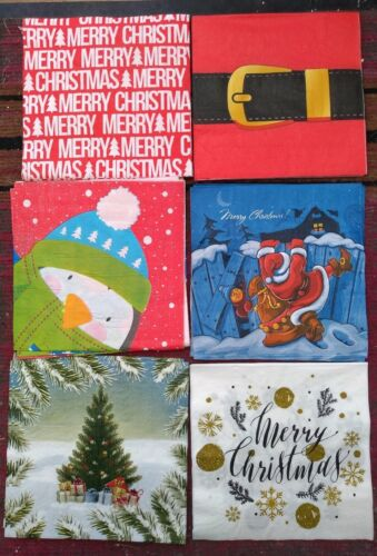 JOBLOT 24 CHRISTMAS NAPKINS CRAFTS DECOUPAGE ETC 6 designs 4 of each see pics
