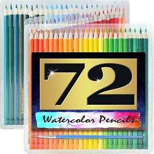 Watercolor Pencils Paint Set 72 Pack Brush Drawing Art Carry Case Artist Soluble