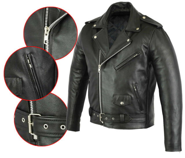 92c1f4ccb MENS REAL Cow LEATHER BRANDO MORTORBIKE MOTORCYCLE BIKER JACKET All Sizes  NEW
