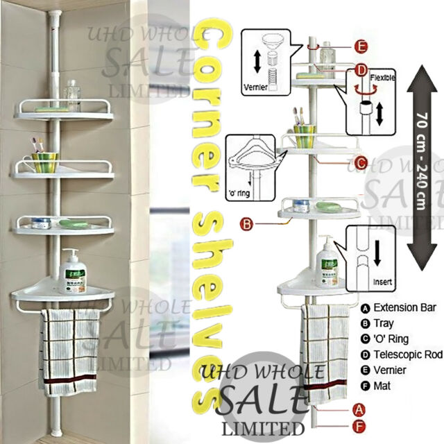 Non Rust Bathroom Telescopic Corner Shelf Storage 4 Tier Shower Caddy Organiser