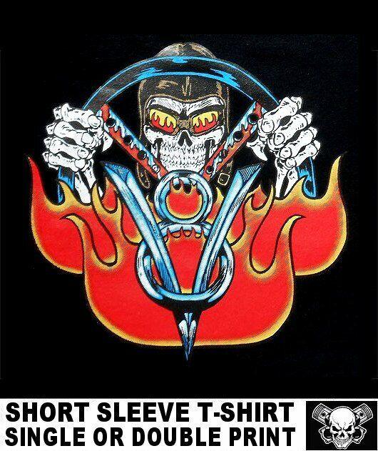 Skull Vintage Racer T-Shirt Hot Rod Biker Motorrad Autorennen Dragrace *1055 sd