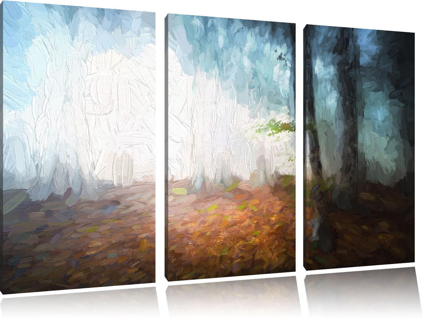 Scuro Foresta Im Nebbia Pennello Effetto 3-Teiler Quadro su Tel Decorazione