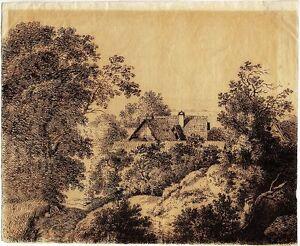 Ferdinand-Kobell-Bauernhaus-hinter-Baeumen-Tuschfeder-um-1780