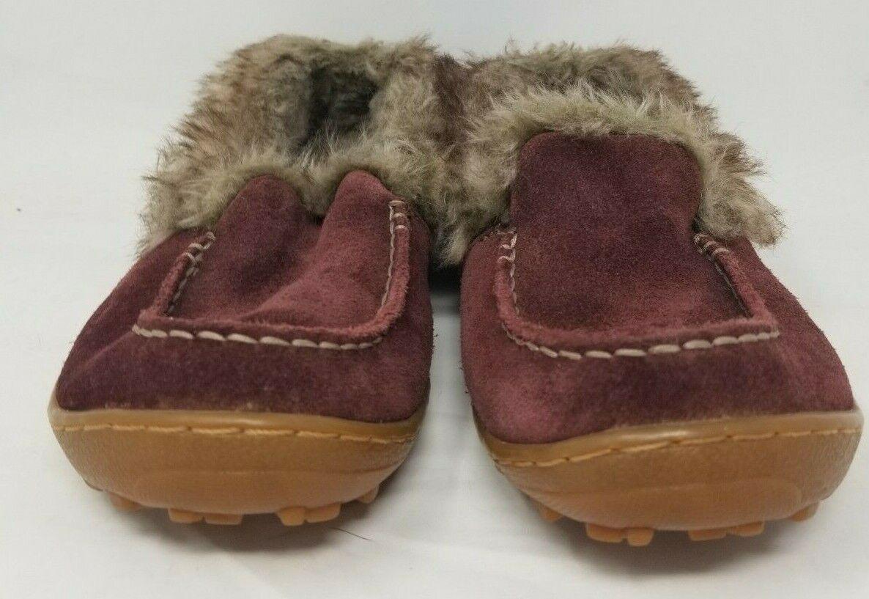 Columbia Omni-Grip Women's Size 6.5 Maroon Suede Slip On Comfort Shoes Fur EXC