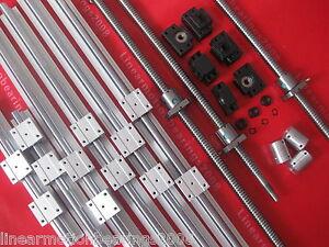 3 set SBR16 linear rail ballscrew RM1605-350/900/1400mm+BK/BF12 end bearing CNC