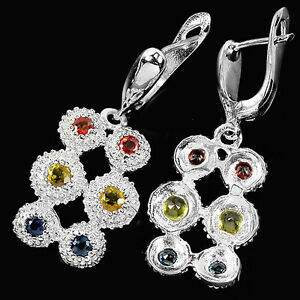 Natural-SONGEA-Multi-Color-SAPPHIRE-Birthstone-925-STERLING-SILVER-EARRINGS