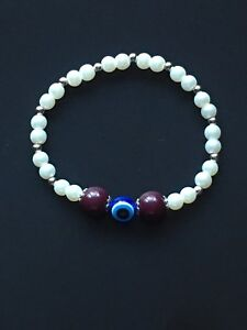 Women-s-Blue-Evil-Eye-and-Purple-bead-Faux-Pearl-Stretch-Elasticated-Bracelet