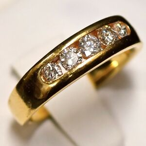 14k-Yellow-Gold-Open-Channel-Setting-Diamond-Band-0-44-tcw-Ring-Size-7-5