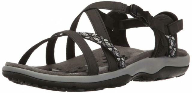 New w//defect Women/'s Skechers 40798 Reggae Trailway Thong Sandal Black B70