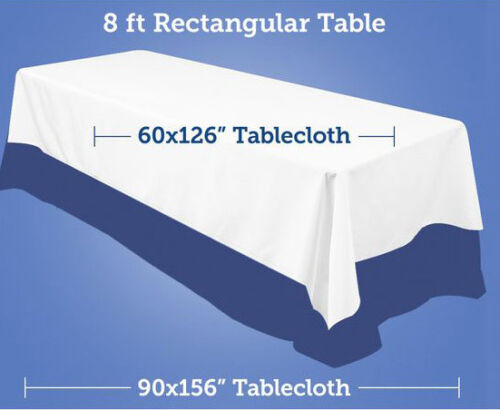 First Time Reply Tablecloth Polyester, What Size Linen For 8ft Rectangular Table