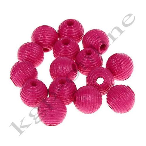 30 estrías perlas//madera perlas//10 mm//saliva//opción de color