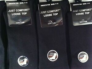 12-X-NEW-COTTON-MENS-BEST-QUALITY-LOOSE-TOP-SOCKS-BLACK-7-11-OR-KING-SIZE-11-14