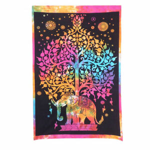 Wall Poster Hanging Cotton Decor Ethnic Hippie Elephant Indian Tapestry Poster