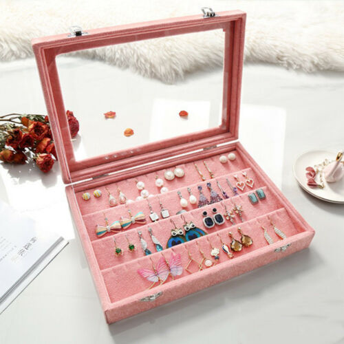 Velvet Jewelry Organizer Earrings Pendant Storage Display Case Clear Lid M