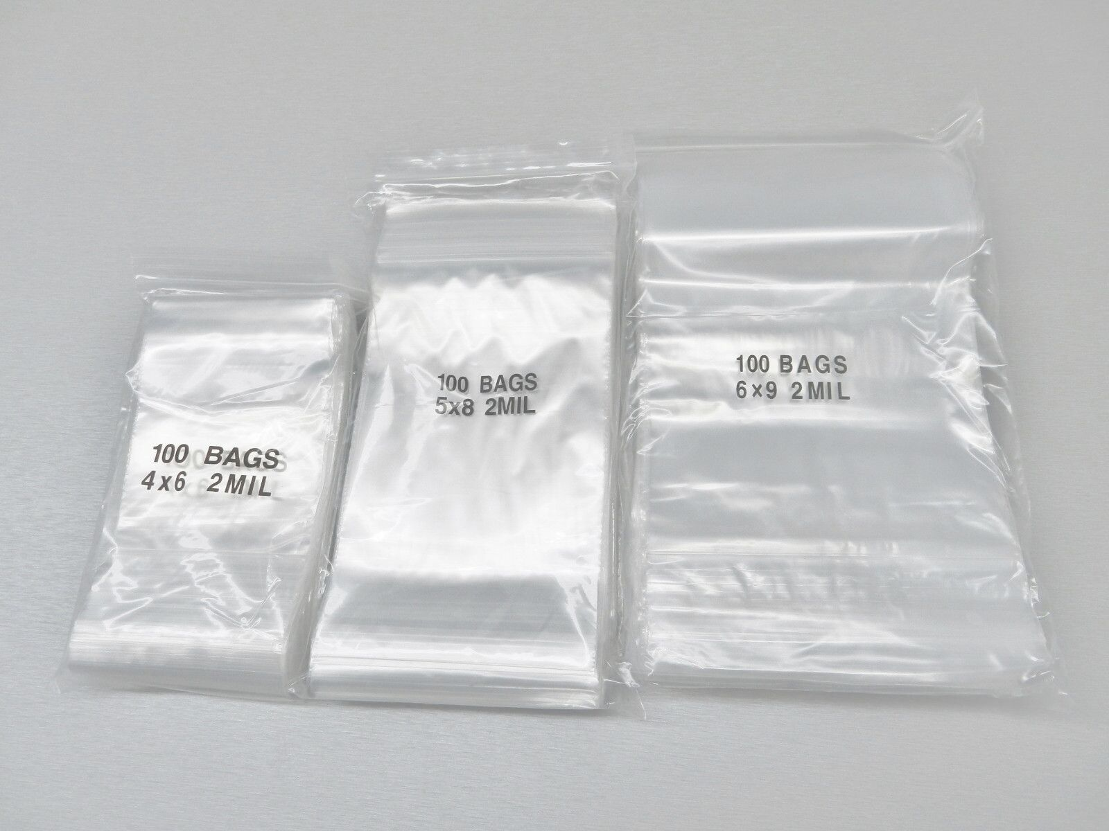 400 CLEAR ZIP LOCK 2MIL POLY BAGS ASSORTED SIZES 100ea /> 4x6-6x9-8x10-9x12