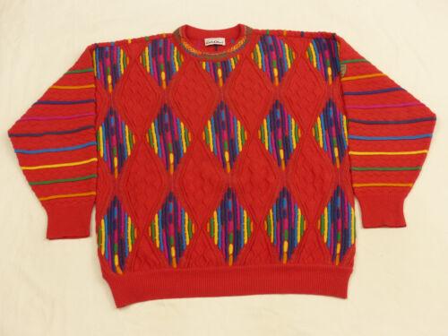 Colucci Diamante Retro cuadros Carlo Pullover Vintage a Rojo Casual Multicolor A0dORxw
