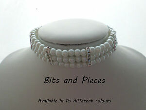 Glass-Pearl-Choker-Necklace-with-Rhinestone-spacers-and-Matching-Earrings