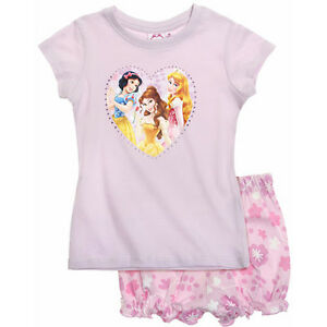 DISNEY-pyjashort-PRINCESSES-2-ou-8-ans-pyjama-pyjacourt-rose-parme-NEUF