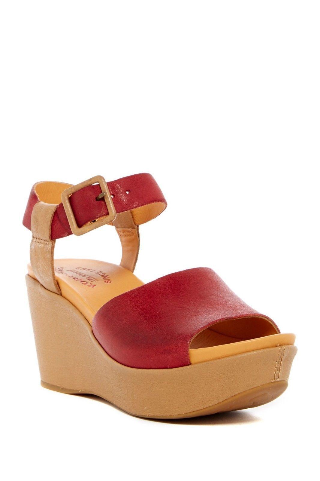 Kork  -Ease donna Keirn rosso Platform Wedge Sandals Sz 9 Leather Ankle Strap NEW  risposte rapide