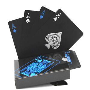 54Pcs-Deck-Poker-Waterproof-Playing-Cards-Set-Black-Classic-Magic-Tricks-Tools