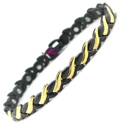 Black & Gold Full Magnetic Bracelet Power Health Arthritis Bio Energy Wristband