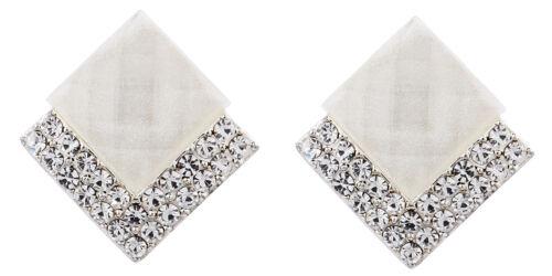 Pendientes De Clip-pendiente Chapado en Plata con una piedra blanca /& Cristales-Bess W