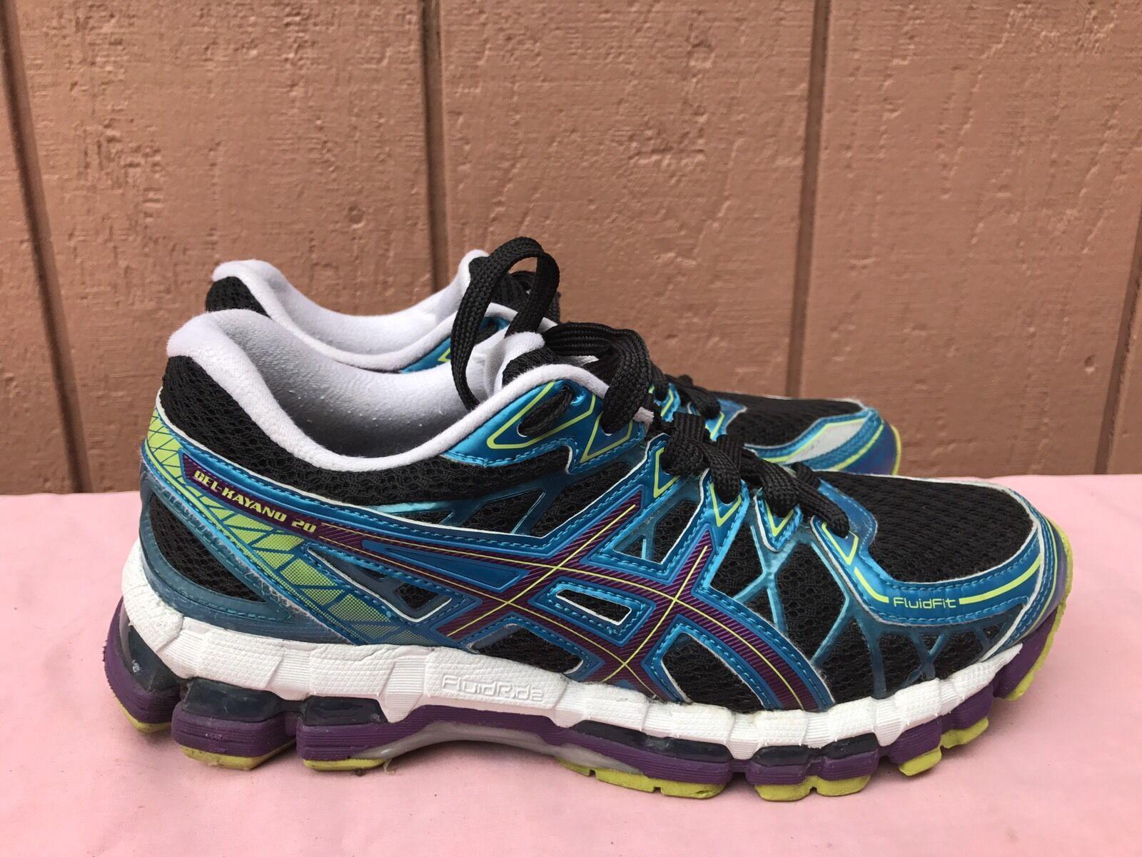 Usado en en en excelente estado ASICS Mujeres Gel-Kayano 20 Negro T3N7N Atlético Zapatillas Zapatos Correr Talla 8 de EE. UU.  primera vez respuesta