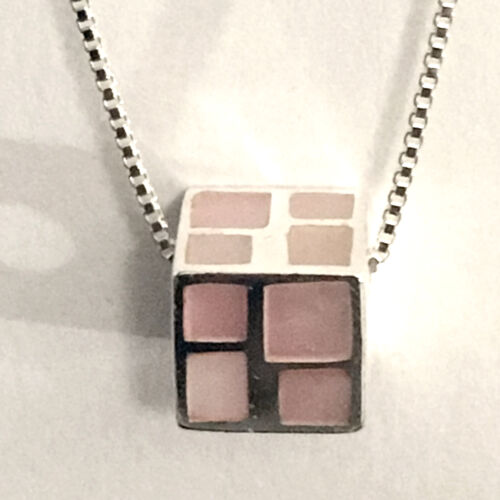 LARGE 6 MM HOLE 1 STERLING SILVER CUBE CHARM BEAD WITH PINK SHELL INLAY 9 MM