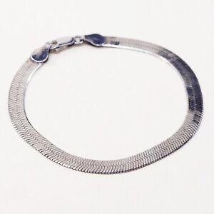 7-25-6mm-vtg-Sterling-Silver-Bracelet-Italy-925-Silver-Herringbone-Chain