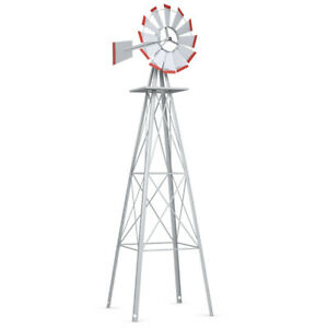 8Ft-Tall-Windmill-Ornamental-Wind-Wheel-Silver-Gray-And-Red-Garden-Weather-Vane