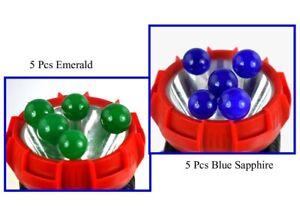 Natural Emerald & Blue Sapphire 300 Ct 10 Pcs Round Gemstone Ball Lot Free Gift