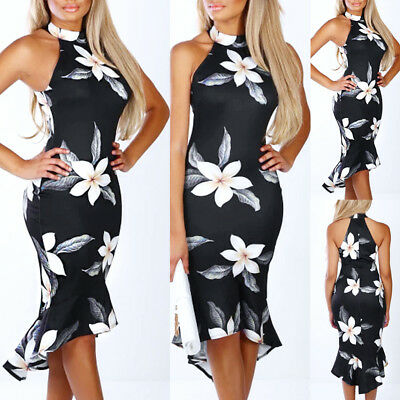 Women Off Shouder Blooming Babe Floral Dip Hem Party Evening Bodycon Midi Dress