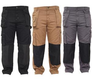 Men Work Trousers Heavy Duty Cargo Removable Pockets Working Combat Worker Pants