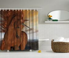 """BRONZE UNICORN MYTHICAL FAIRY HORSE 70"""" Fabric Bathroom Shower Curtain"""
