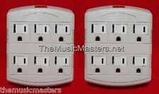 2X Grounded 6 Outlet AC Wall Plug Power Splitter 6-Way Electrical Socket Adapter